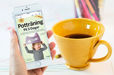 Kopp kaffe samt e-bok Potträning på 3 dagar
